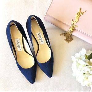 JIMMY CHOO Romy Navy Suede Pumps, Size 37